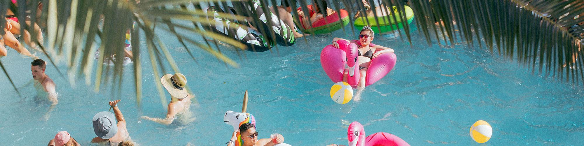 Splash House festival goers in pool