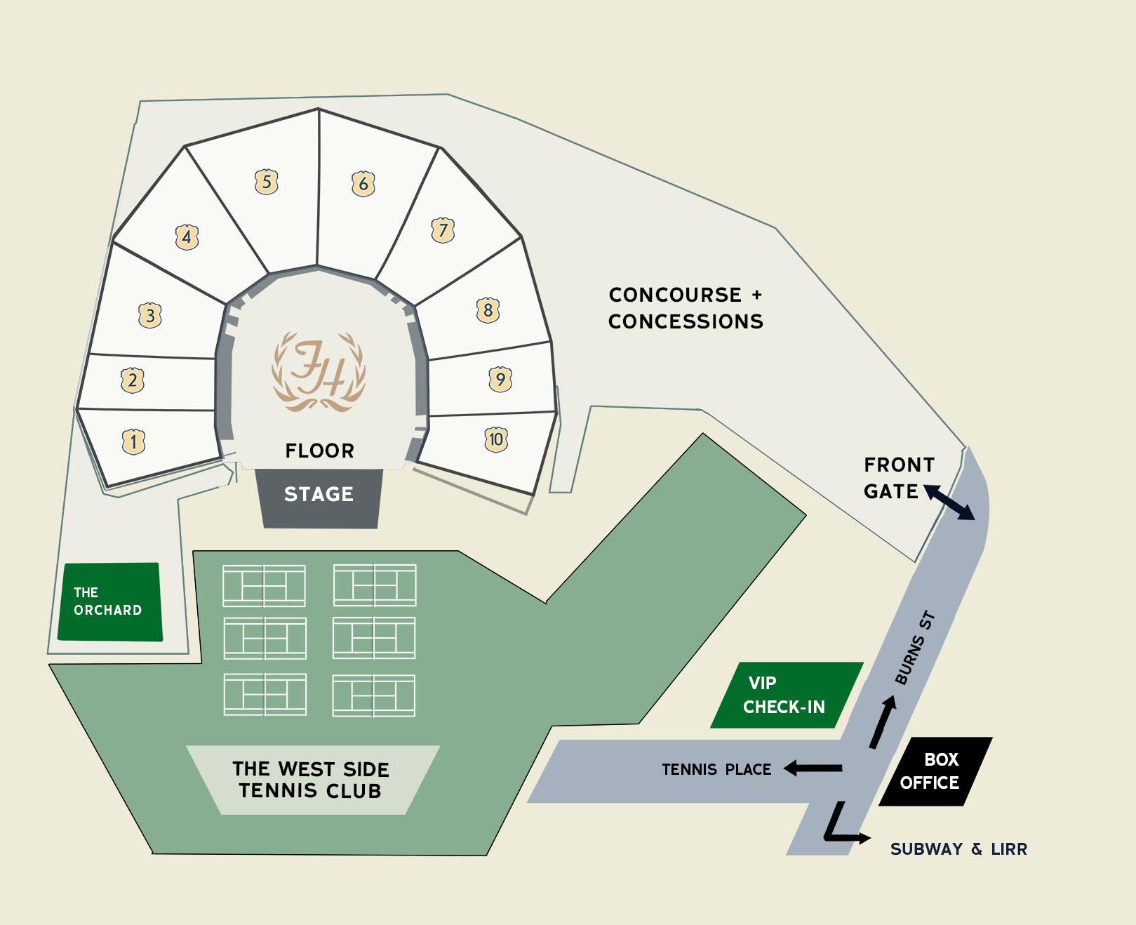 Forest Hills Stadium venue map