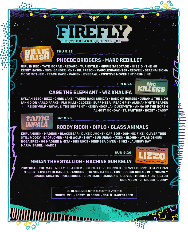 Firefly 2021 lineup: Billie Eilish, The Killers, Lizzo, Tame Impala, Roddy Ricch, Megan Thee Stallion, Cage The Elephant, Wiz Khalifa, Machine Gun Kelly and more