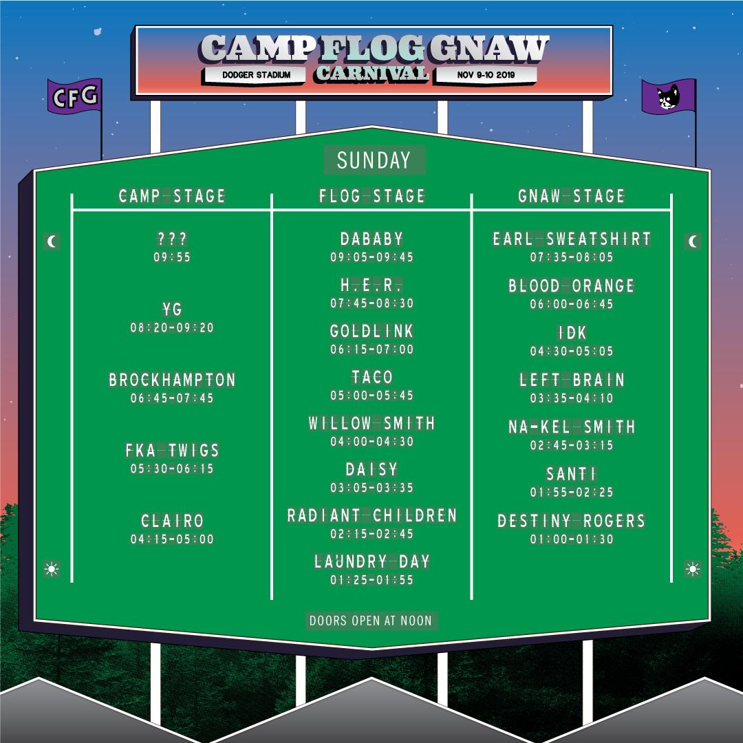 Camp Flog Gnaw Sunday set times