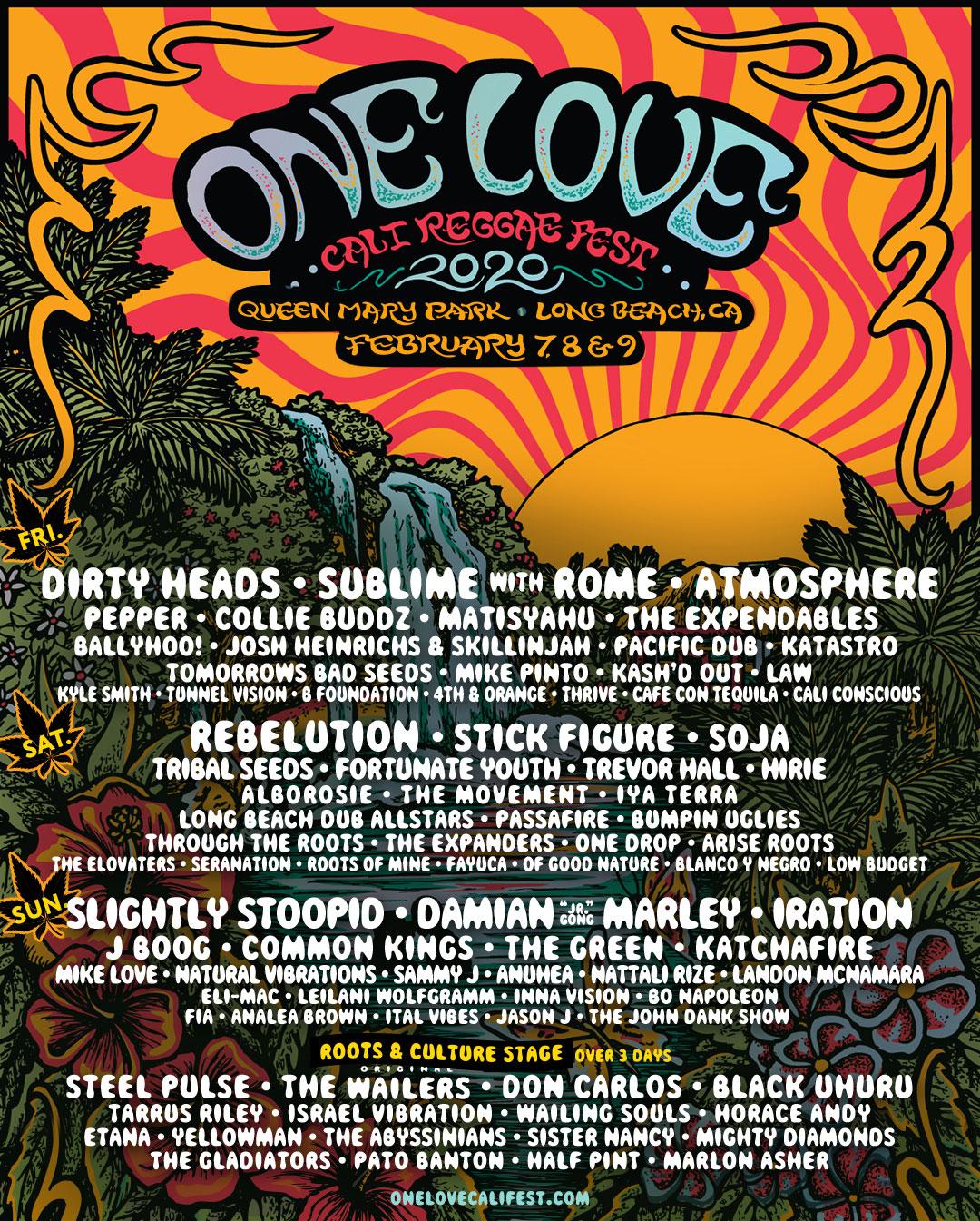 One Love Cali Reggae Fest 2020 poster
