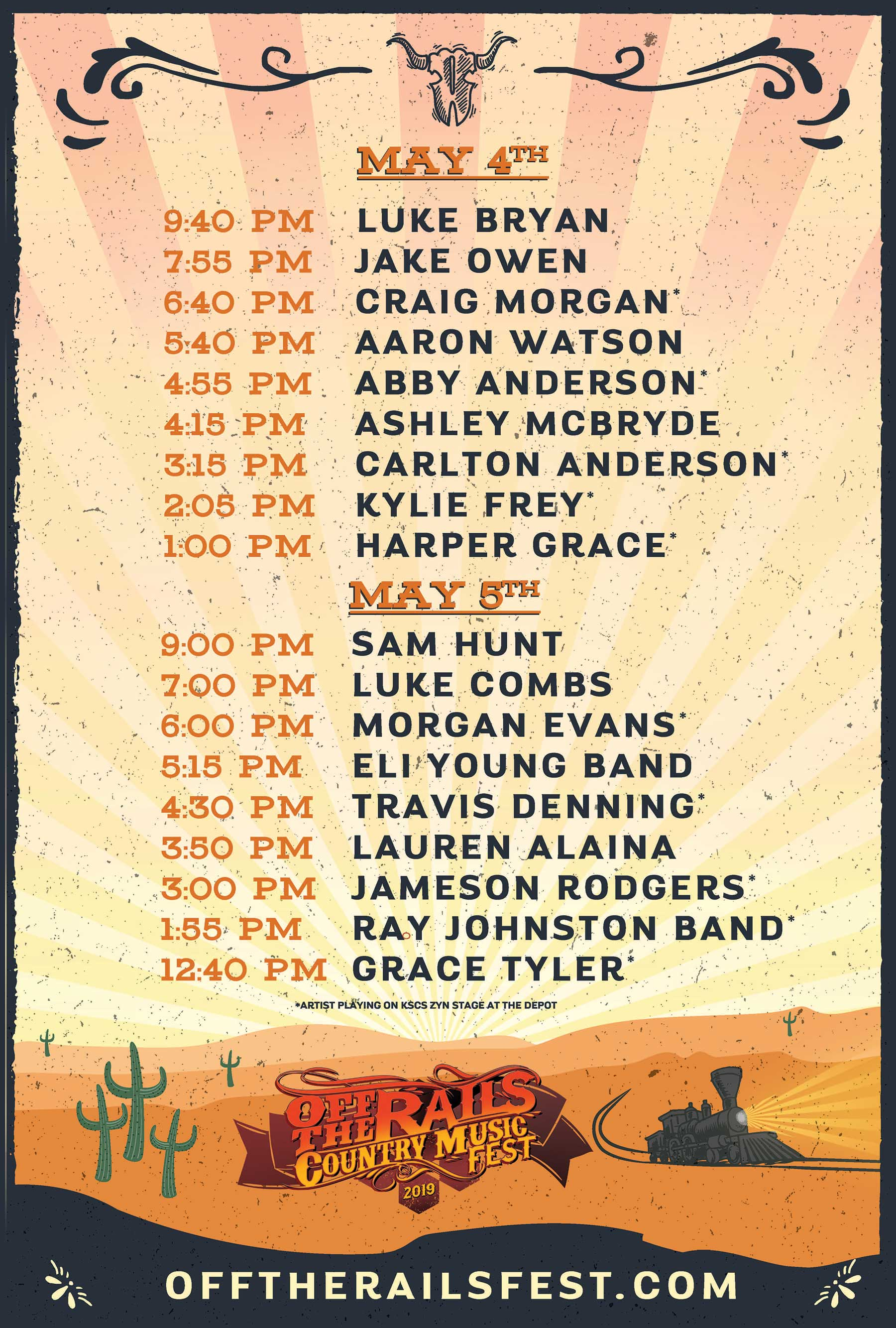 Off The Rails Set Times