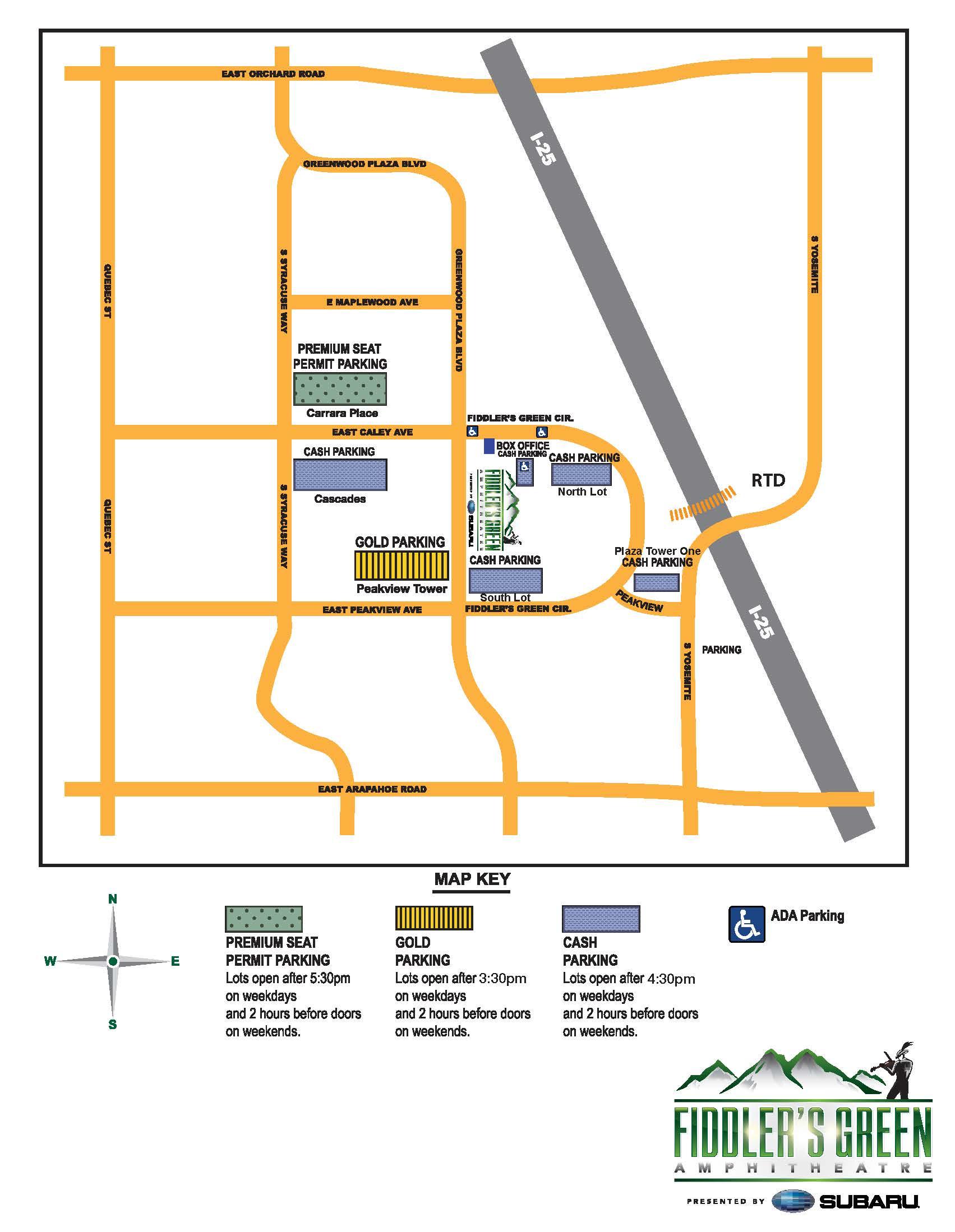 Fiddlers Green Parking Map