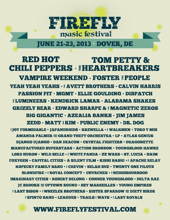 Firefly Music Festival 2013 poster