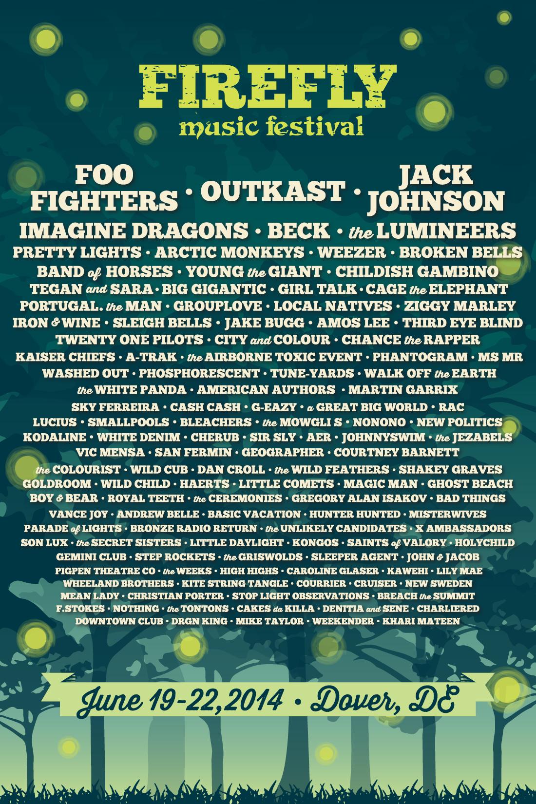 Firefly Music Festival 2014 poster
