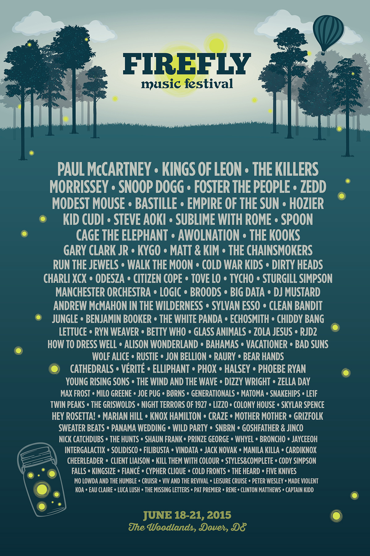 Firefly Music Festival 2015 poster