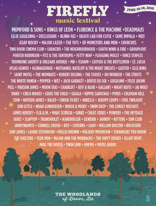 Firefly Music Festival 2016 poster